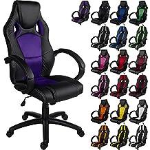 """RACEMASTER® """"GS Series"""" - Silla de escritorio de Racing - Mecanismo de inclinación y elevación - Ideal para videojuegos - Homolación SGS - Disponible en 20 colores - silla de oficina púrpura"""