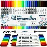 Pinselstift Set 24 Farben 0.4mm-2mm mit 2 verschiedenen Spitzen Bullet Journal Malstifte auf Wasserbasis Art Marker Fineliner