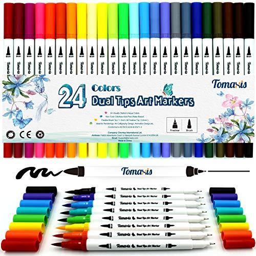 Pinselstift Set 24 Farben 0.4mm-2mm mit 2 verschiedenen Spitzen Bullet Journal Malstifte auf Wasserbasis Art Marker Fineliner.