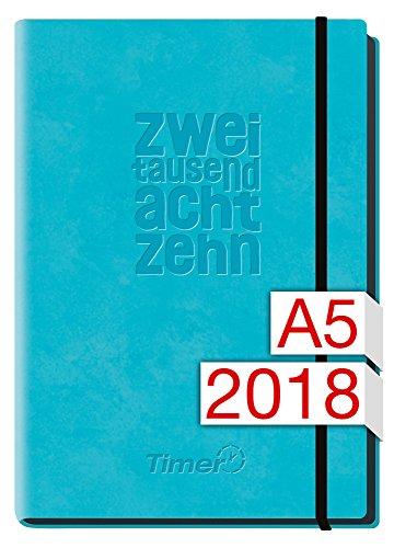 Chäff-Timer Deluxe A5 Kalender 2018 [hellblau] 12 Monate Jan-Dez 2018 - Gummiband, Einstecktasche - Terminkalender mit Wochenplaner - Organizer - Wochenkalender