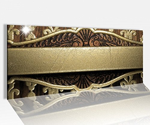 Acrylglasbild 100x40cm Metall Muster Holz Gold abstrakt Acrylbild Glasbild Acrylglas Acrylglasbilder 14A2218, Acrylglas Größe1:100cmx40cm