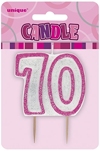 s Kerze zum 70. Geburtstag in Rosa ()