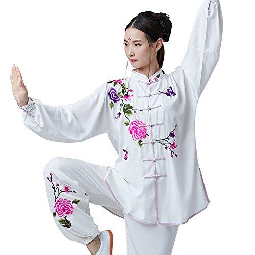 KIKIGOAL Stickender Tai Chi Anzug für Damen Kung Fu Uniformen mit Stickerei Bloomers Baumwolle und Flachs Chinoiserie (XXL)