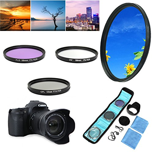 58mm UV FLD CPL Circular Polarizing Filter Kit Set With
