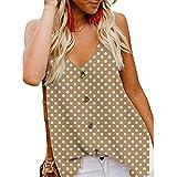 AIMEE7 Ropa Mujer Camisola de Moda Verano Casual sin Manga Estampado de Lunares con Botones, Camisa, Camiseta, Chaleco y Blusa De 2019 Moda Casual Primavera y Verano para Mujeres