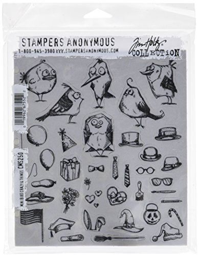 Unbekannt Stampers Anonymous Tim Holtz Klebestempel 7 x 8.5 Zoll Mini Verrückte Vögel und andere Dinge, Synthetic Material, Mehrfarbig, 24.5 x 19 x 0.5 cm -
