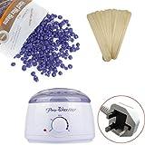 Hair Removal Hot Paraffin Wax Warmer Heater Machine Pot electric Hard Bean Set Depilatory kit men women (Purple)
