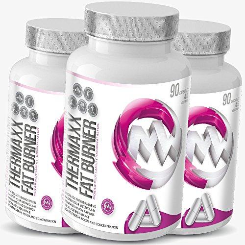 #THERMAXX Fat Burner | 90 Kapseln | Thermogenetic Fat Burner für schnelle Fettverbrennung + Appetithemmer | Legal ECA-Stack mit Koffein & Synephrin | Für Frauen & Männer#