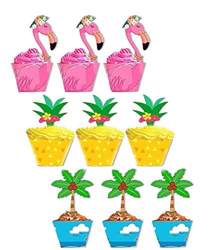 Tumao 24 pcs Flamant/Ananas / Palm Cupcake Toppers Wrappers - Tropical Hawaiian Pool Party Fournitures décorations de gâteau, Fête à thème décoration Bricolag