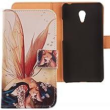 "Lankashi PU Flip Funda De Carcasa Cuero Case Cover Piel Para Meizu Meilan M2 Note 5.5"" Wings Girl Design"