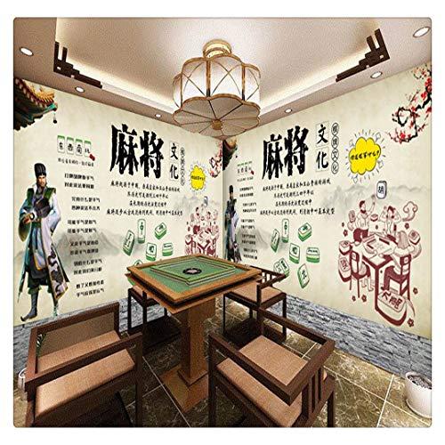 Tapeten Fototapete Benutzerdefinierte Traditionelle Mahjong-Kultur Schachzimmer Unterhaltung Werkzeug Retro Nostalgisches Casino Video Play Wall B, 200Cmx140Cm