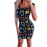 TUDUZ Robes Sexy imprimées Papillon de la Mode pour Femmes de D'été Sexy Mini Robe Épaules Nus Robe mprimé Florale Dress Robe De Printemps Manches (Noir,EU-34/CN-S)