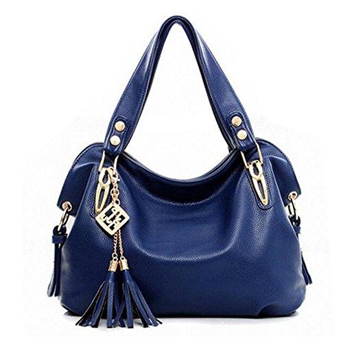 Damen luxuriös PU Leder Umhängetasche Hantaschen Henkeltaschen Schultertasche (schwarz) blau
