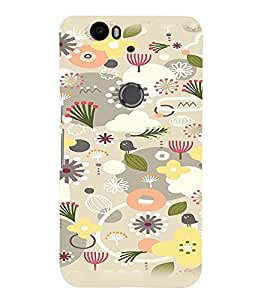 Fuson Premium Seeds And Flowers Printed Hard Plastic Back Case Cover for Huawei Nexus 6P