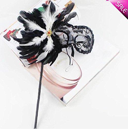JJH-ENTER Maske Handgemacht Kunststoff Goldenes Zwiebeltuch Garnblüte Feder Abschlussball Lichtdurchlässig Hand gehalten (Teufel Halb Latex Maske Schwarze)