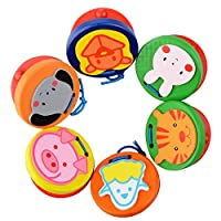 Warooma 6 Pack Wooden Finger Castanets Colorful Cartoon Pattern Handcrafted Finger Musical Instrument Rhythm Toy Early Education Toy for Baby Kids Children