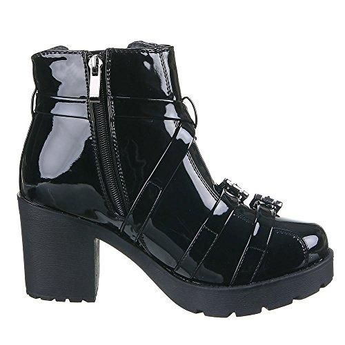 Damen Schuhe, IR-297, STIEFELETTEN Schwarz