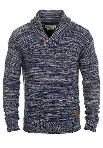!Solid Herren Miles Shawl Pullover Strickpullover Grobstrick mit Schalkragen aus 100% Baumwolle Meliert, Größe:L, Farbe:Insignia Blue (1991)