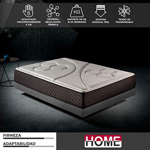 Komfortland Colchón 150x190 viscoelástico Memory Vex Foam de Altura 25cm, 5cm de ViscoProgression Grafeno