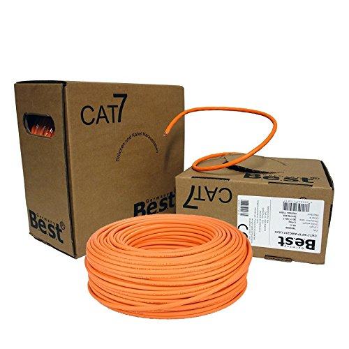 Netzwerk-verkabelung (CAT.7 Verlegekabel Gigabit 10Gbit Netzwerkkabel 1000Mhz S/FTP CAT7 Installationskabel PIMF Kabel Netzwerk Verkabelung LAN Datenkabel 4x2xAWG23/1 orange 10/100/1'000/10'000 MBit)