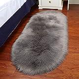 LCLrute Teppich Soft Teppich Stuhlbezug Künstliche Schaffell Wolle Warm Hairy Carpet Sitzmatten Teppich (Grau, L:60x100cm)