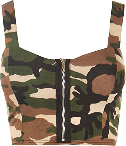 WearAll Womens Padded Bra Camouflage Strappy Zip Ladies Crop Bralet Sleeveless Top Sizes 8-14
