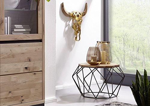 Table basse Ø60cm - Métal et Bois massif de teck - Design moderne - UNICA #003