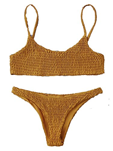 happy&live Women Swimwear Bikini Cami Smocked Bikini Top and Bottoms Sexy Low Waisted Spaghetti Straps Swimsuit Women Bathing Suit Light Brown S Brown Spaghetti Strap
