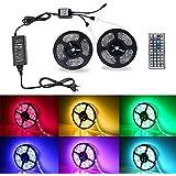 2x5M Ruban LED Lumineuse Etanche 5050 RGB Multicolore SMD 2x150 LED avec Changement de Couleur Flexible Strip Light + télécommande 44 Touches, Alimentation 12V 5A