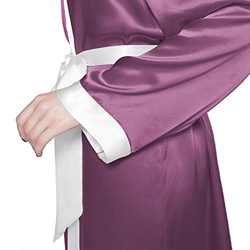 LILYSILK Robe de Chambre en 100% Soie Femme au Genou Bordure Crème 22 Momme Violet