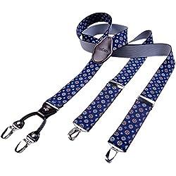 DonDon hombres tirantes 3,5 cm ancho 4 clips con piel cuero marrón de forma Y elástico y con longitud ajustable azul obscuro con dibujos