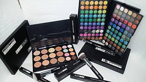 Italie blush kit maquillage fard à paupières 120 mat et chatoyant, 20 fondations, anticernes et brosses