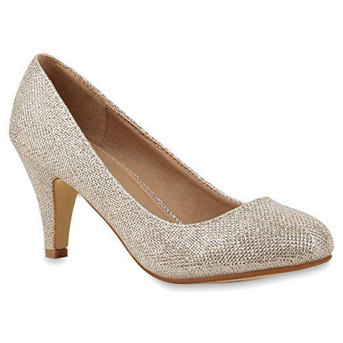 Damen Klassische Pumps Spitze Stiletto Party Mid Heels Glitzer High Heels Leder-Optik Hochzeit Abiball Schuhe 64441 Gold 40 Flandell
