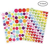 ofoen 1200 Pieces Stickers, 18 Sheets Reward Stickers Craft Stickers Self Adhesive Coding Label Sticky Dots for Scrapbook Decoration