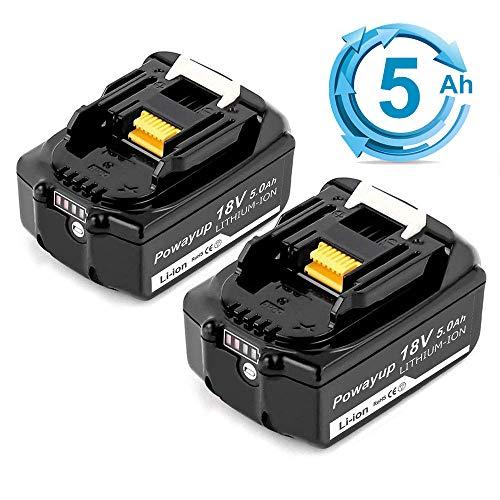 Powayup 2X BL1850B Sostituzione per Makita 18V Batteria 5,0Ah BL1860B BL1860 BL1850 BL1840B BL1840 BL1830B BL1830 BL1845 BL1835 LXT-400 con Indicato