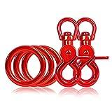 Ganzoo 3 x O - Ring aus Stahl und 2 x Scheren-Karabiner Haken mit Dreh-Gelenk/Dreh-Kopf im Set, DIY Hunde-Leine/Hunde-Halsband, nichtrostend, Ideal mit Paracord 550, Farbe: rot