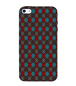 HiFi Designer Phone Back Case Cover Apple iPhone 5 ( Red Blue Diamond Pattern Design )