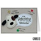 Grußkarte Filz - Wuff - Beste Wünsche - Geburtstagskarte - 12