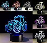 W-ONLY YOU-J Illusion 3D Small Night Light Tractor Creative Gifts Kids Christmas