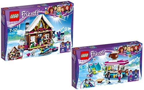 Preisvergleich Produktbild LEGO Friends 41323 - Chalet im Wintersportort + LEGO Friends 41319 - Kakaowagen am Wintersportort