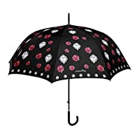 PERLETTI - Stick Umbrella for Women - Walking Classic Brolly - Chic Elegant Pattern - Luxury Details on Handle - High Quality - Roses and Hearts Prints - Windproof - Automatic Opening - Black