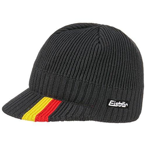 Eisbär Deutschland Ski Cap Strickmütze mit Schirm Schirmmütze Wintermütze Skimütze Wintercap Wollcap (One Size - schwarz)