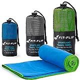 Fit-Flip Blau mit grünen Rand, 1x 140x70cm   microfaser handtücher grün microfaser handtücher Hund