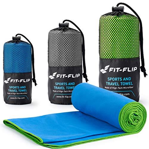 Fit-Flip Blau mit grünen Rand, 1x 160x80cm | mikrofaser Handtuch pro