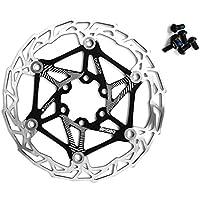 Freno de disco flotante de acero inoxidable para bicicleta, 160 mm, giratorio de bicicleta, parte de ciclismo de montaña con pernos (negro)