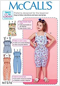 McCalls Girls Easy Learn to Sew Sewing Pattern 7377 Tops Dresses Romper ...