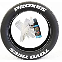 """Tire Stickers - 'TOYO TIRES PROXES' - Permanent Glue On/DIY Easy, White Tire Lettering Accessory with Free 4oz Bottle Touch-up Cleaner - (19""""-21""""/1.50"""" - 4 DECALS)"""