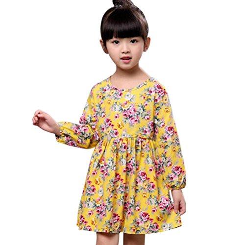 druck Prinzessin Kleid, Lenfesh Infant Kinder Herbst Bowknot Partykleid (110/ 4 Jahre, Gelb 1) (Heiligen Kostüm Ideen Für Kinder)