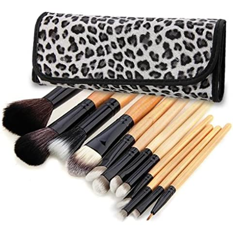 Crazo Set 12 Brochas Pinceles Leopardo Maquillaje Cosmético Profesional Makeup