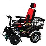 TWL LTD Fauteuil Roulant Électrique Pliant Ultra Léger Multifonctionnel Automatique Personnes Âgées Handicapées Scooter 4 Roues avec Panier de Transport, Batteries Plomb-Acide 48V 32A 75Km